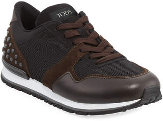 Tod's Men's Mesh & Leather Trainer Sneakers, Black/Brown