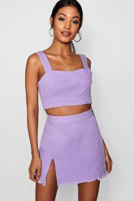 boohoo Eva Side Split Denim Mini Skirt