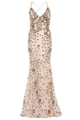 Quiz Champagne Sequin Cross Back Fishtail Maxi Dress