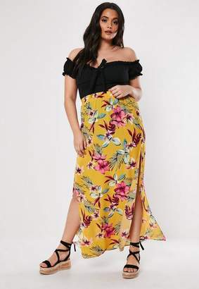 Missguided Plus Size Yellow Floral Split Maxi Skirt