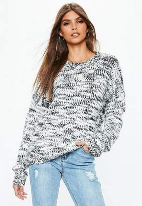 Missguided Gray Chunky Knit Boyfriend Sweater