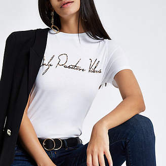 River Island White 'only positive vibes' fitted T-shirt