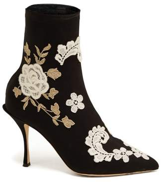 Dolce & Gabbana - Macramé Embroidered Sock Boots - Womens - Black White