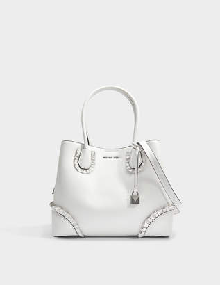 MICHAEL Michael Kors Mercer Gallery Center Zip Medium Tote Bag With Ruffles in Optic White Polished Leather