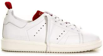 Golden Goose White & Red Starter Sneaker In Leather
