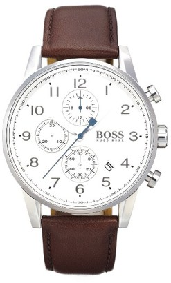 Boss Chronograph Leather Strap Watch, 44Mm $295 thestylecure.com