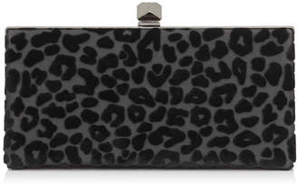 Jimmy Choo CELESTE/S Black Devore Leopard Fabric Clutch Bag with Cube Clasp