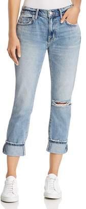 Current/Elliott The Fling Cuffed Cropped Boyfriend Jeans in 2 Year Destroy Rigid Indigo