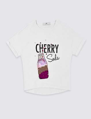 Marks and Spencer Pure Cotton Sequin Soda T-Shirt (3-16 Years)