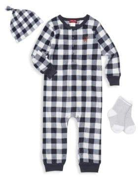 Petit Lem Baby Boy's Plaid 3-Piece Coveralls, Socks & Beanie Set