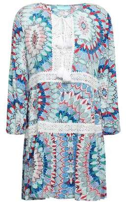 Melissa Odabash Lace-trimmed Printed Woven Coverup