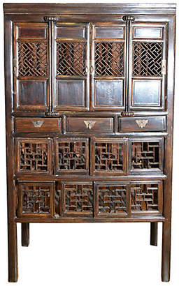 One Kings Lane Vintage Antique Chinese Fretwork Kitchen Cabinet - FEA Home