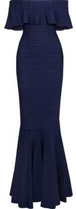 Herve Leger Off-the-shoulder Crochet-trimmed Bandage Dress
