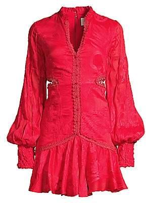 Alexis Women's Sarabell Lace-Trim Jacquard Puff-Sleeve Dress