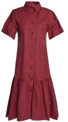 McQ Appliqued Gingham Cotton-poplin Shirt Dress