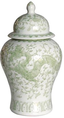 """One Kings Lane 21"""" Dragon Lotus Temple Jar - Green/White"""