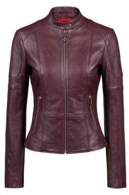 HUGO Boss Regular-fit lambskin leather jacket zippered cuffs M Dark Red