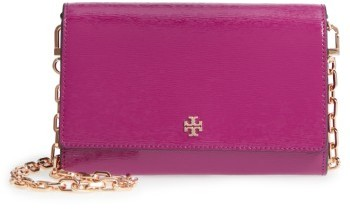Women's Tory Burch Robinson Patent Leather Wallet On A Chain - Pink