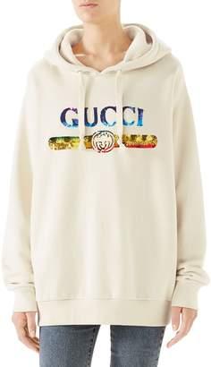 Gucci Rainbow Sequin Logo Hoodie