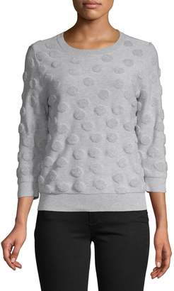 Lord & Taylor Petite Three-Quarter-Sleeve Dot Sweater