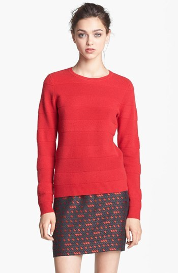 Nordstrom Miss Wu 'Polimero' Textured Stripe Cashmere Sweater Exclusive)