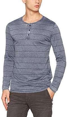 Tom Tailor Men's Striped Henley Tee Long Sleeve Top, (Cosmos Blue 6814), Large