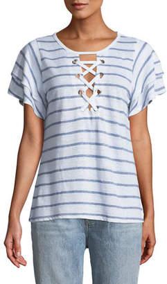 Generation Love Kiki Lace-Up Ruffled Short-Sleeve Striped Linen Top