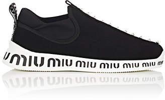 Miu Miu Women's Crystal-Embellished Knit Sneakers - Nero