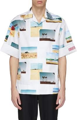Calvin Klein Photographic print roll cuff short sleeve shirt