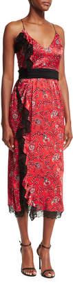 Cinq à Sept Petra Sleeveless Faux-Wrap Silk Dress W/ Lace Trim