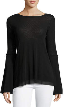 Fuzzi Bell-Sleeve Tulle Top w/ Keyhole Back, Black $295 thestylecure.com