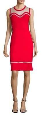 Elie Tahari Saskia Mesh Inset Sweater Dress