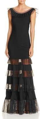 Tadashi Shoji Illusion Ruffle Pintucked Gown $408 thestylecure.com