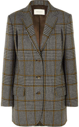 Gucci Cape-effect Prince Of Wales Checked Wool-blend Blazer - Gray