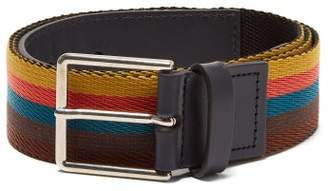 Paul Smith Bright Stripe Webbing And Leather Belt - Mens - Multi