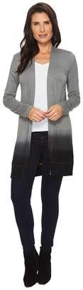 Mod-o-doc Rayon Spandex Jersey Dip-Dye Shirred Back Cardigan Women's Sweater