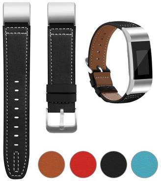 Fitbit iGK For Charge 2 Superior Genuine Leather Replacement Wrist Bands Metal Connectors (Red)