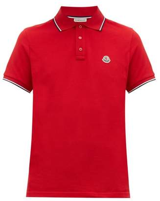 Moncler Embroidered Logo Cotton Pique Polo Shirt - Mens - Red
