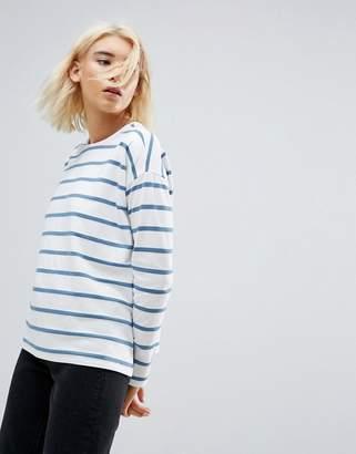 Asos DESIGN Stripe Top in Baby Loop Back
