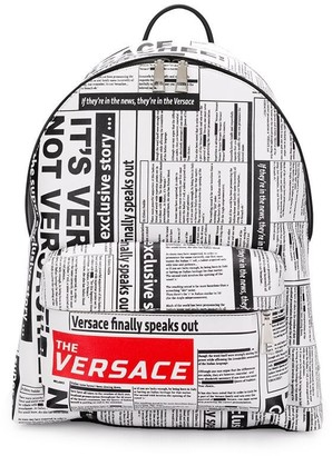 Versace Headline print backpack