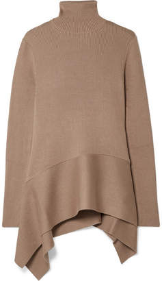 ADEAM - Asymmetric Ribbed Silk-blend Turtleneck Sweater - Brown