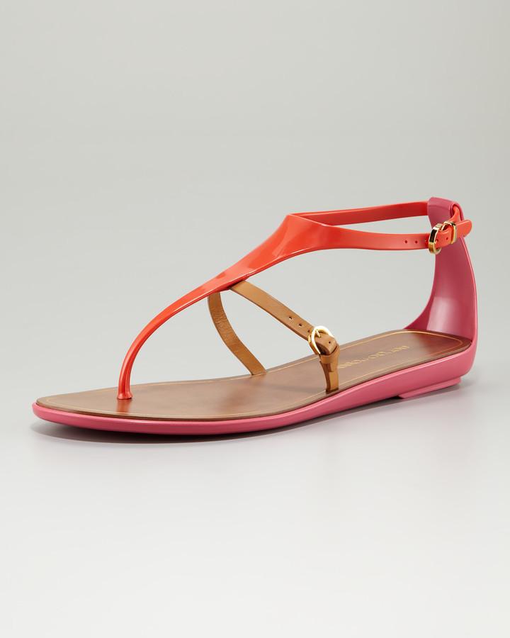 Sergio Rossi Jelly T-Strap Sandal, Bubble Gum/Orange