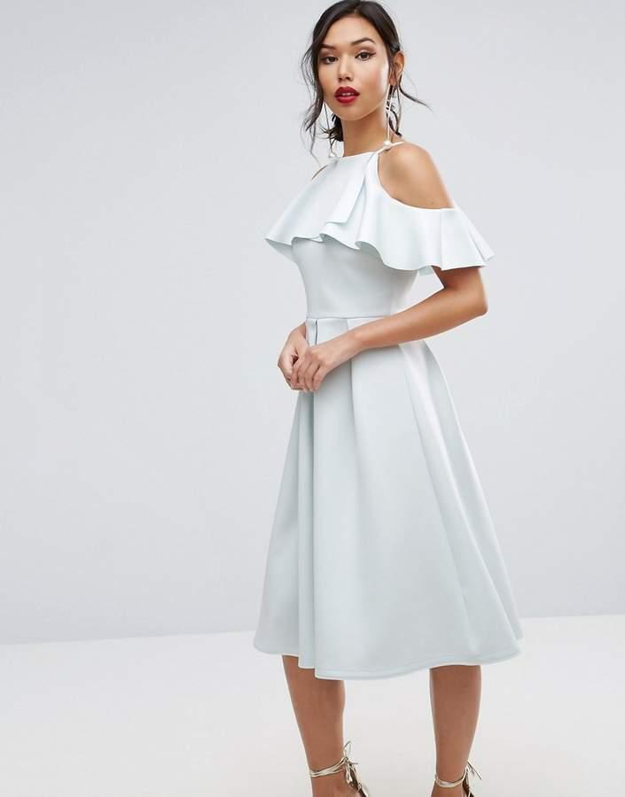 AsosASOS Scuba Ruffle Top Midi Prom Dress
