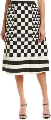 Valentino Geometric Wool & Silk-Blend Midi Skirt