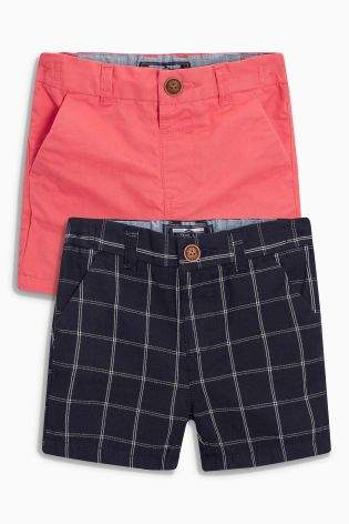 Boys Coral/Blue Check Chino Shorts Two Pack (3mths-6yrs) - Blue
