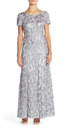 Alex Evenings Sequin & Soutache Lace Gown