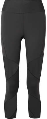 Nike Fly Lux Cropped Mesh-paneled Stretch Leggings - Black