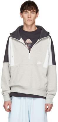 Nike Grey and White Half-Zip Hoodie
