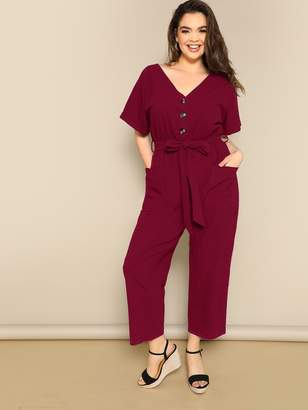 Shein Plus Button Front Roll Up Sleeve Belted Jumpsuit