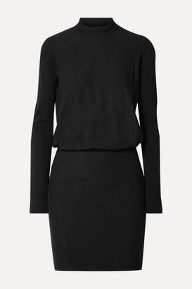 James Perse Slub Stretch-cotton Jersey Mini Dress - Black